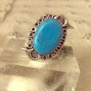 Turquoise ring - sterling with mermaid detail